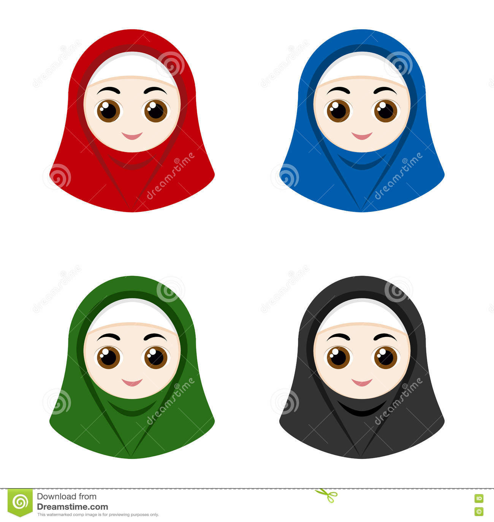 Set of cartoon avatars girls with hijabs isolated on white background vector illustration