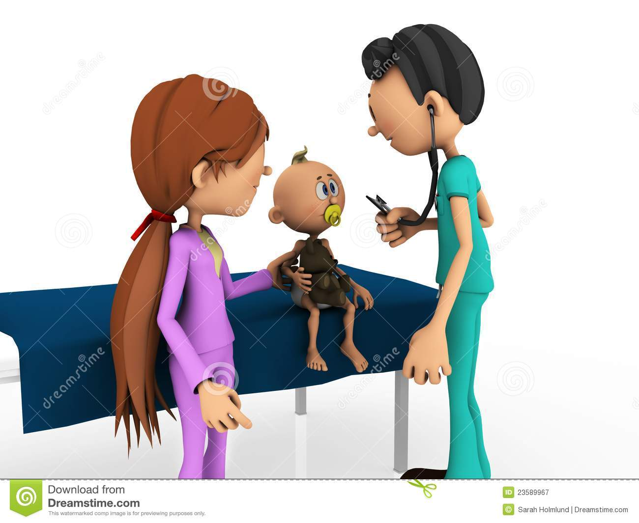 cartoon baby being examined by doctor royalty free stock