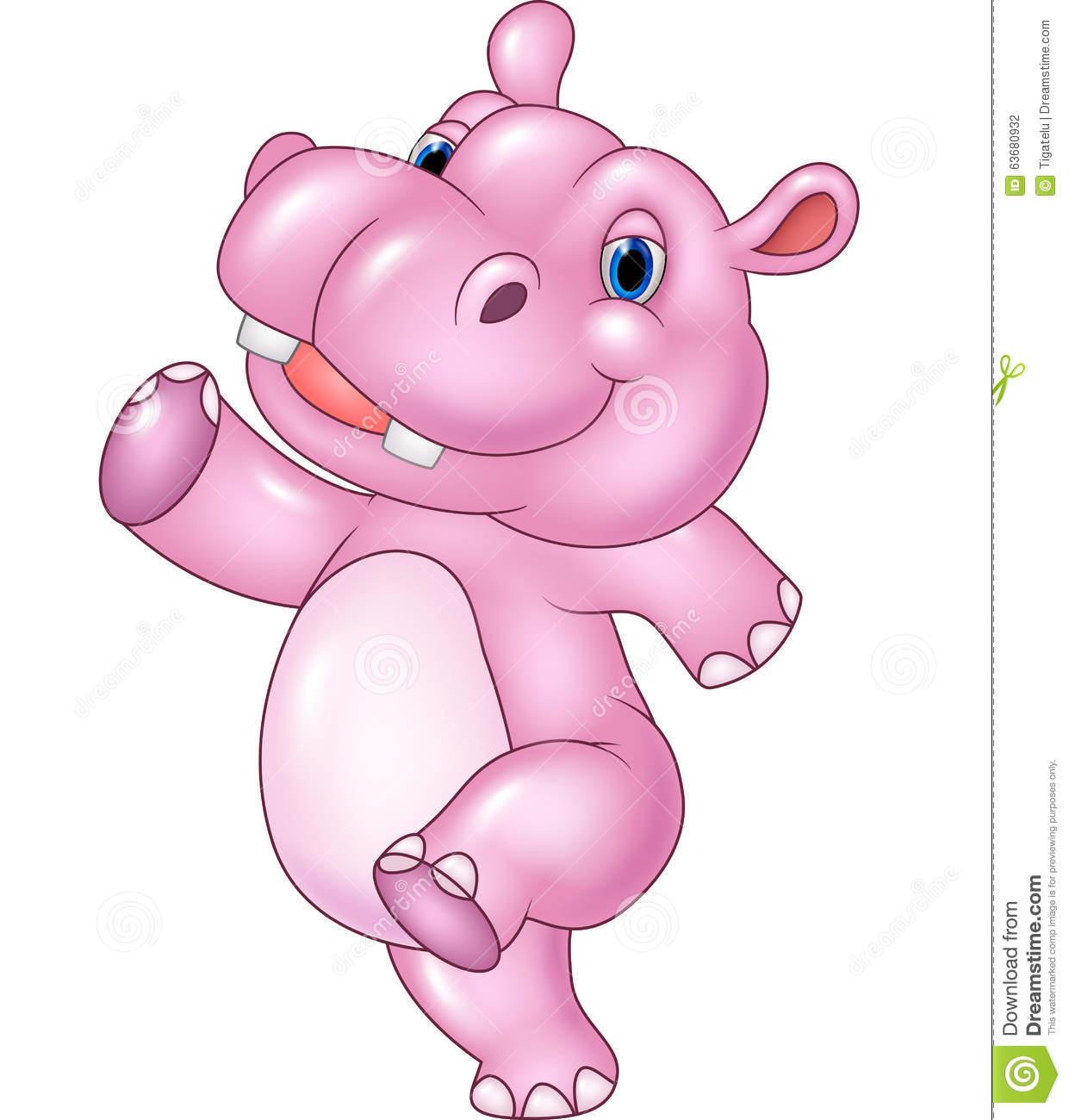 Cartoon Baby Hippo Running Isolated On White Background Stock Vector ...