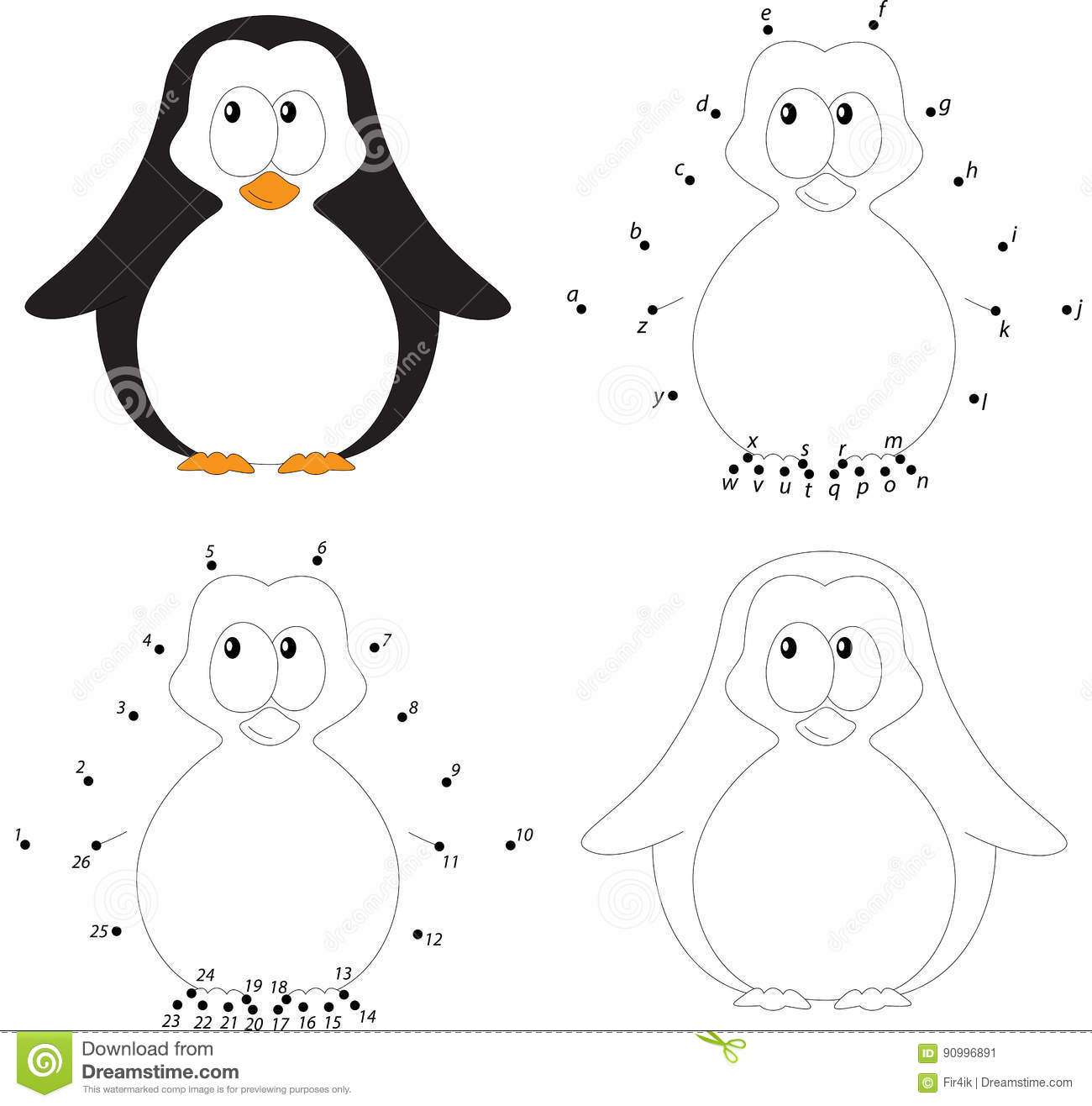 Cartoon Baby Penguin Coloring Book And Dot To Dot Game For Kids