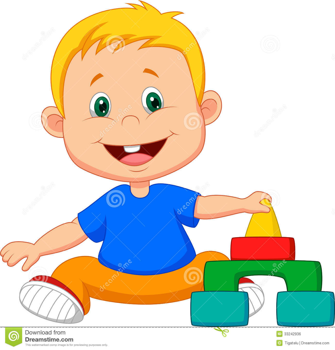 Cartoon Baby Is Playing With Educational Toys Royalty Free ...