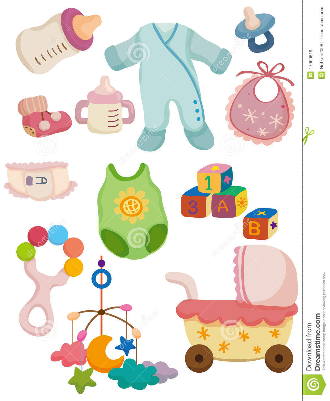 Cartoon baby stuff icon stock vector Illustration of