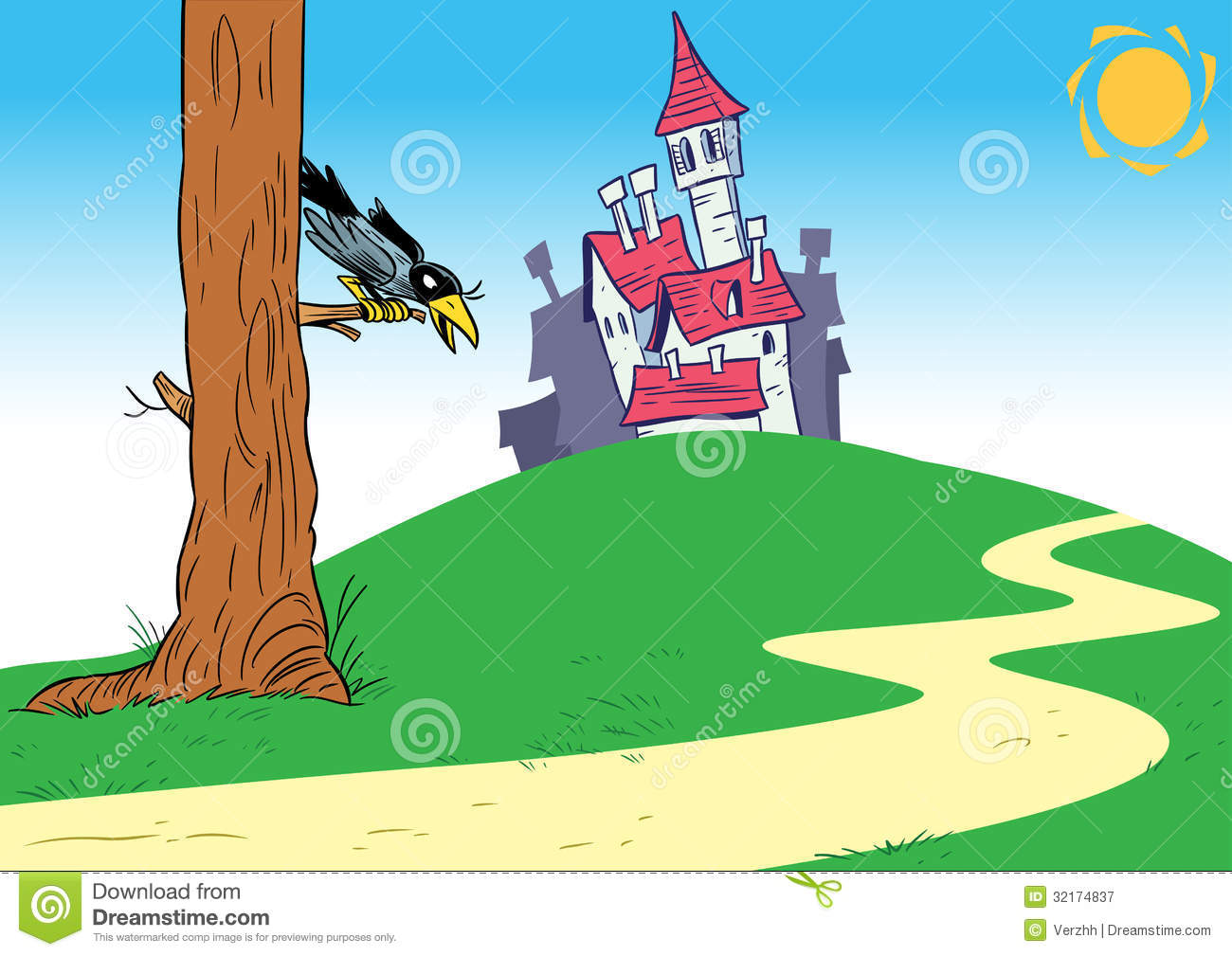 Cartoon Background With Castle Royalty Free Stock ...