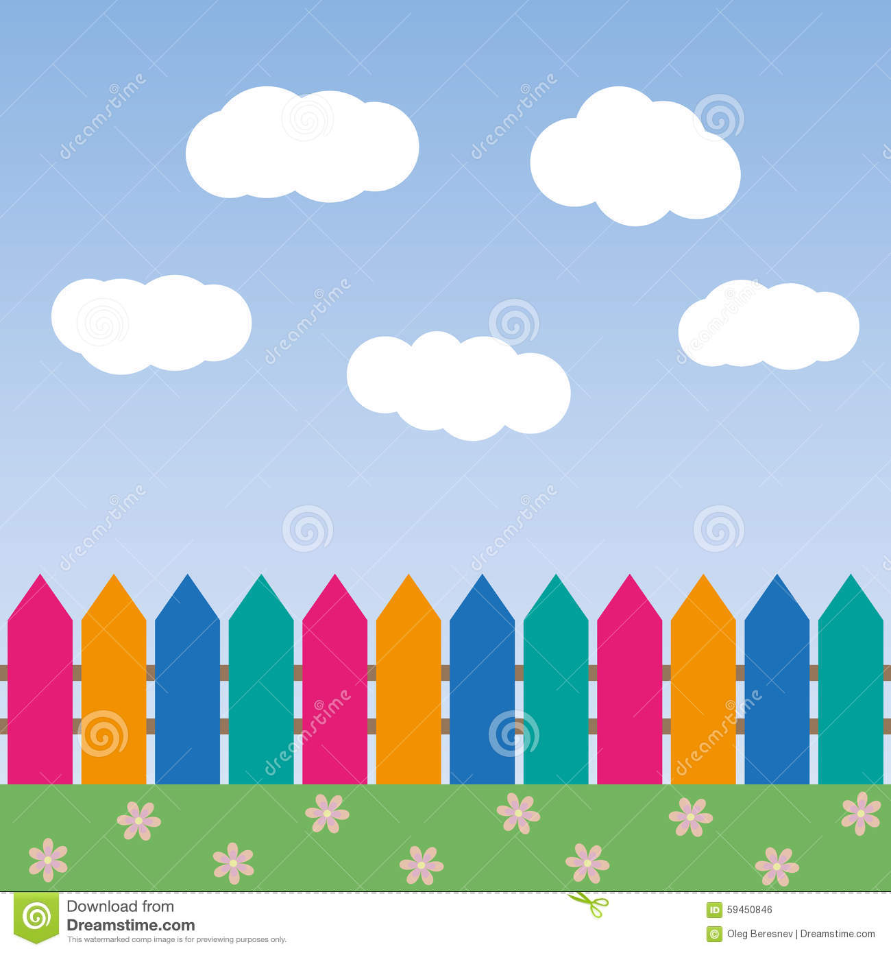 Cartoon Background With Color Fence And Clouds Stock Vector - Cartoon fence clip art