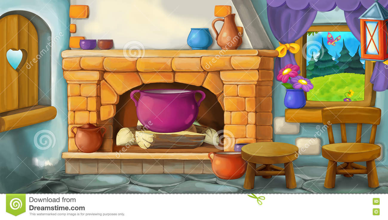 Old Fashioned Kitchen Cartoon Background For Fairy Tale Interior Of Old Fashioned