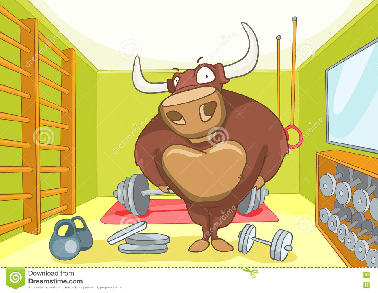 Cartoon background of gym room royalty free stock
