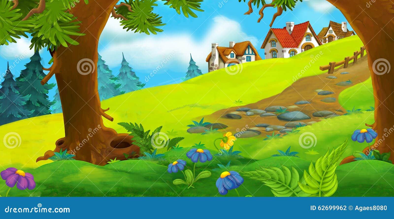 Cartoon Background Of Old Village Stock Illustration