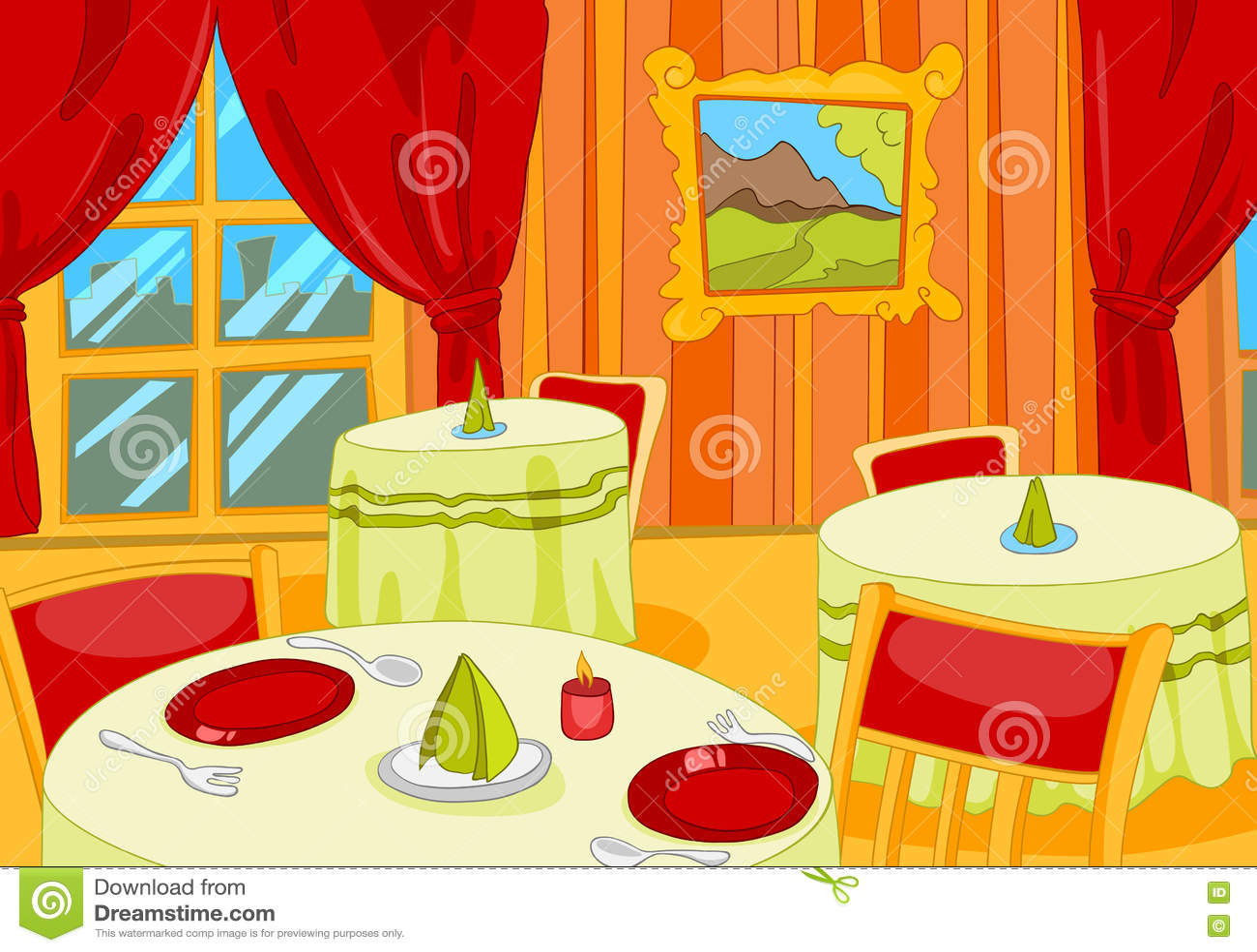 Cartoon background of restaurant hall interior stock