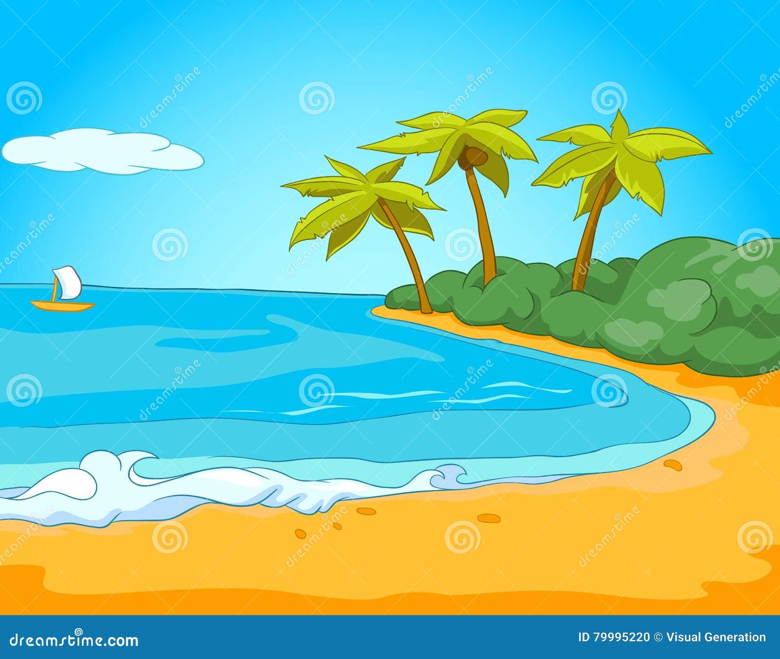 Cartoon Background Of Tropical Beach And Sea Stock