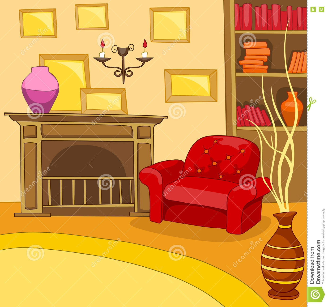 Cartoon Background Of Vintage Living Room Interior Stock