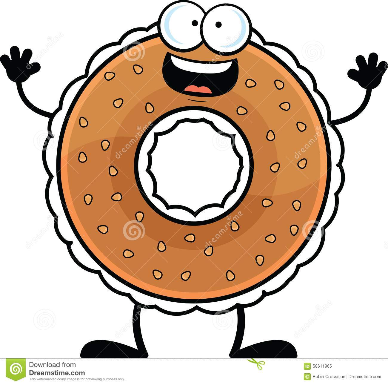 Cartoon illustration of a bagel with a happy expression.