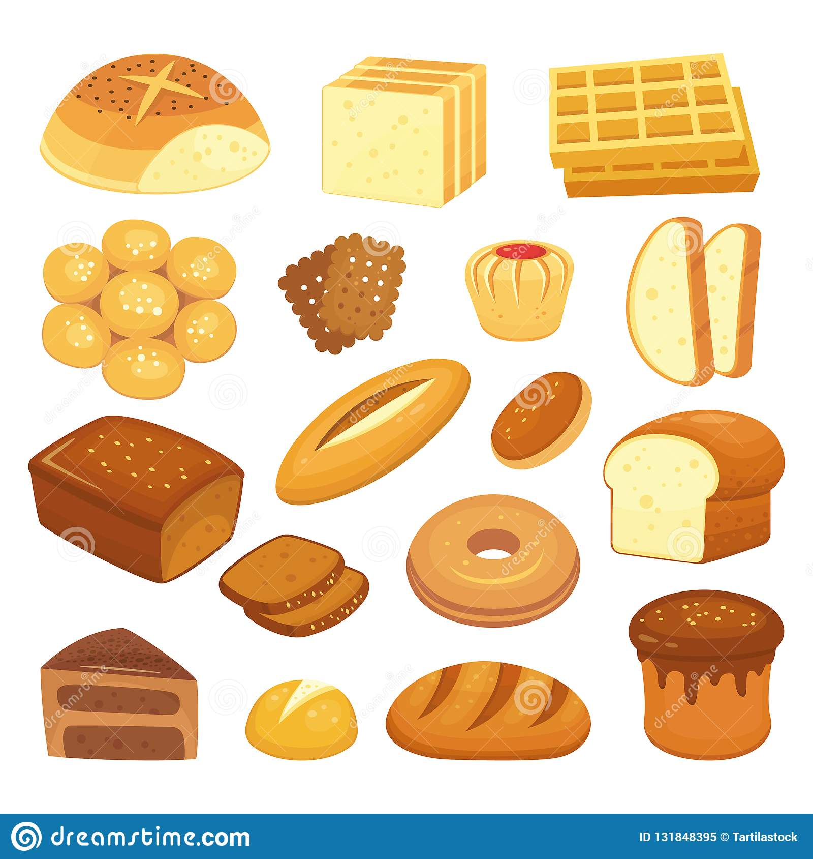 Cartoon bakery products. Toast bread, french roll and breakfast bagel. Whole grain breads, sweet bun and loaf vector