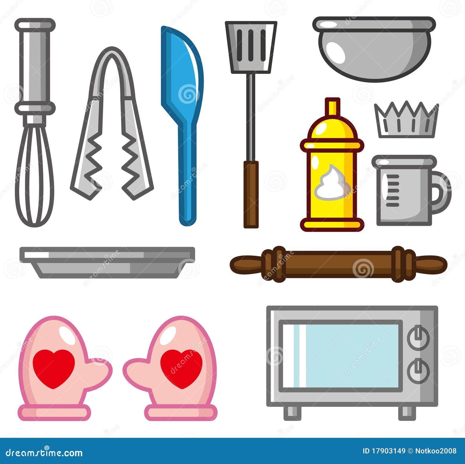 Kitchen Shears In Baking: Cartoon Kitchen Tool Icon Set Cartoon Vector