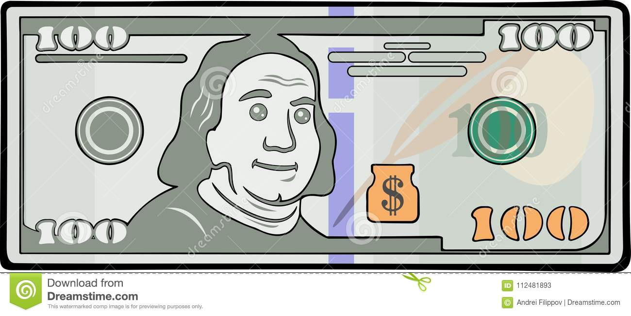 Cartoon banknote with one hundred dollars