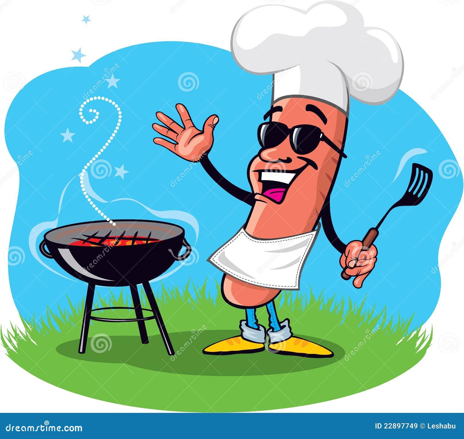 Cartoon Barbecue Hot Dog stock vector. Illustration of cartoon ...