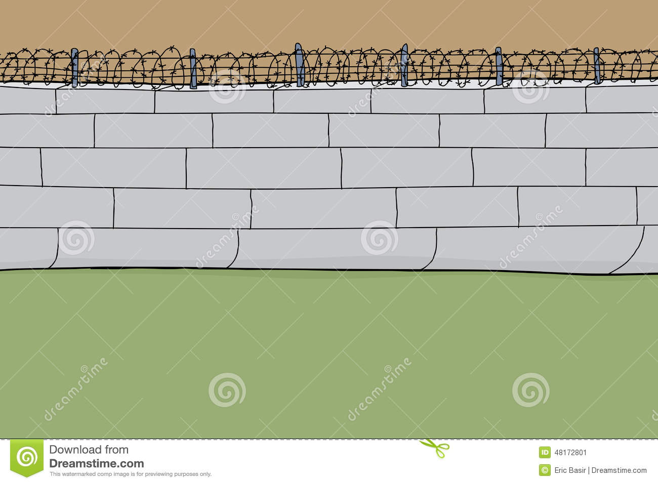 Cartoon barbed wire wall stock vector illustration of