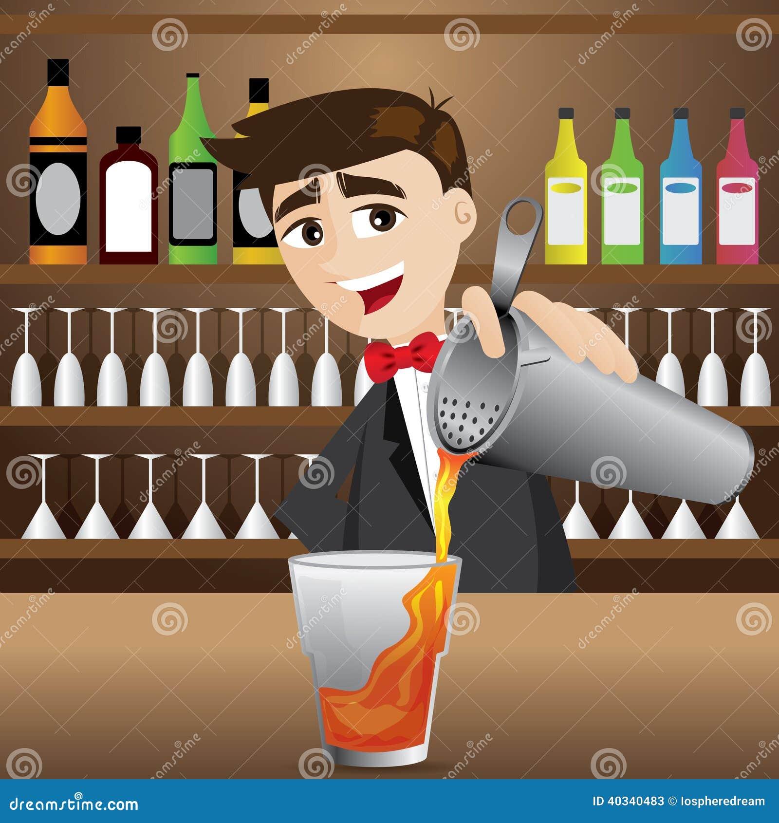 cartoon bartender pouring cocktail stock vector image 40340483 Clip Art Alcoholic Beverages booze bottle clip art
