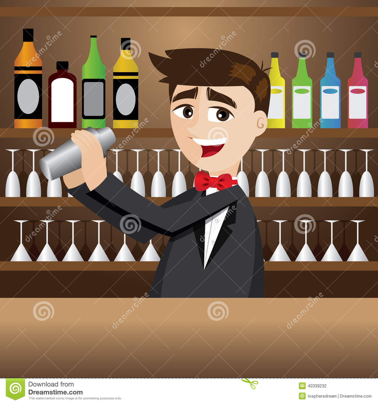 Cartoon bartender with shaker at bar stock vector image 40339232 - Picture of bar ...