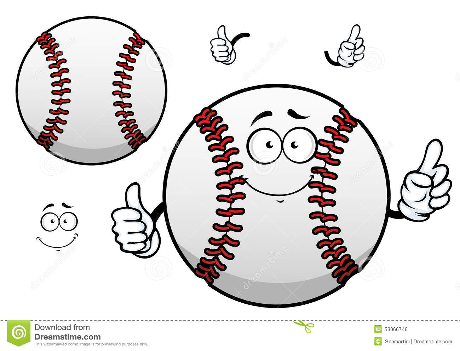 Cartoon Baseball Ball With Thumb Up Stock Vector