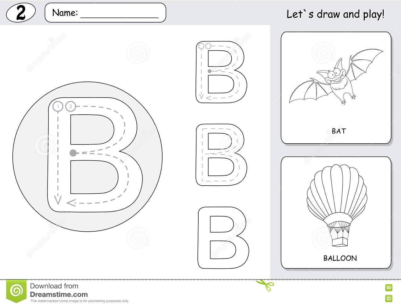 Cartoon Bat And Balloon. Alphabet Tracing Worksheet: Writing A-Z ...