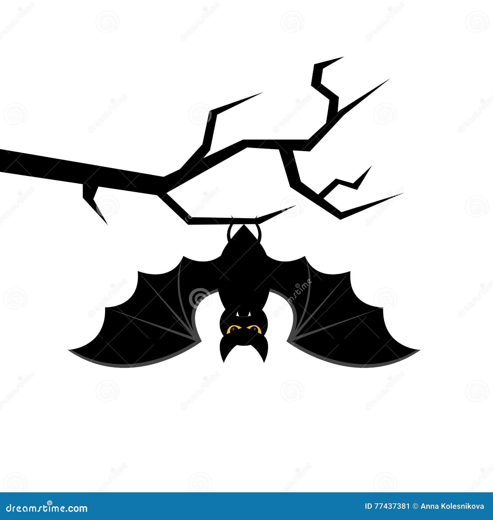 Cartoon Bats: Cartoon Bat Hanging On Tree Branch. Happy Halloween Card