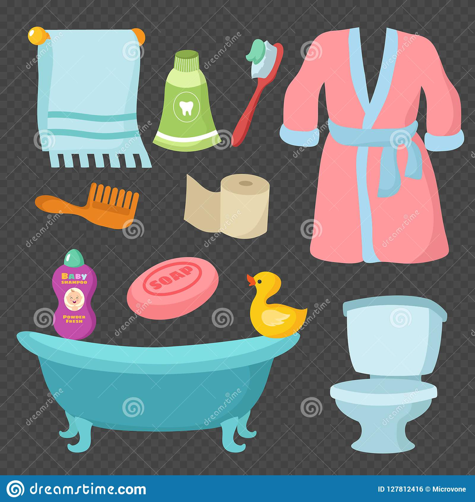 Cartoon Bathroom Accessories Set Vocabulary Vector