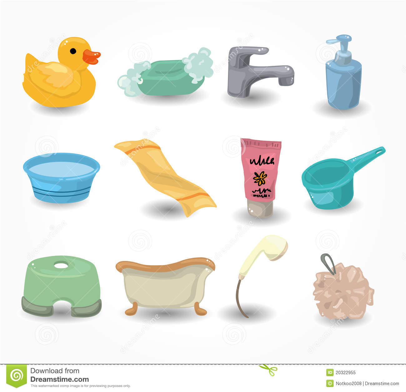 Cartoon bathroom equipment icon set stock vector image for Salle de bain equipement