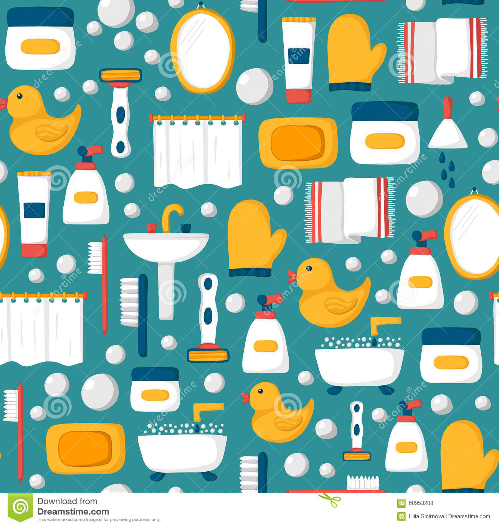 Cartoon Bathroom Seamless Background Stock Vector