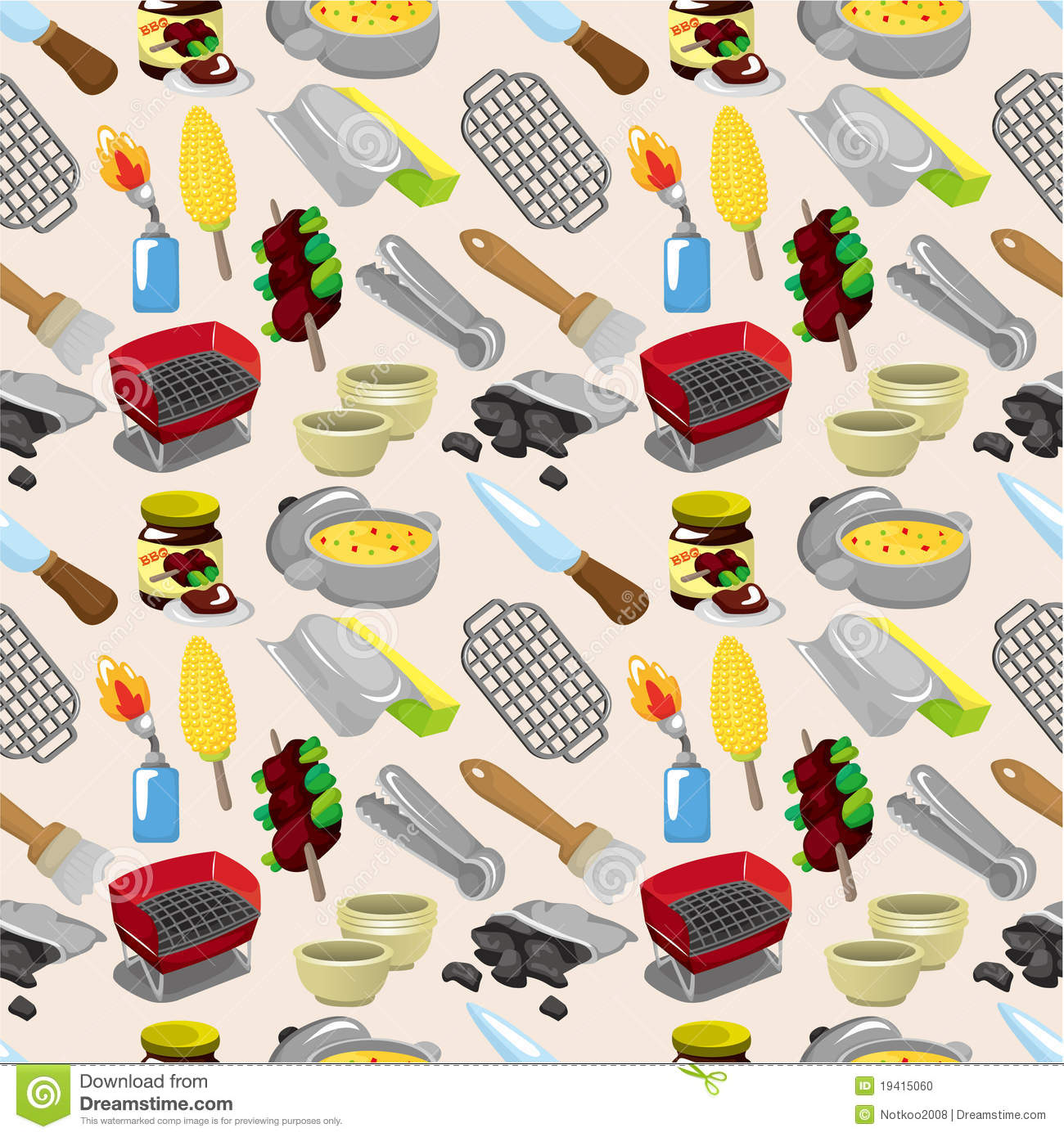 Cartoon Bbq Seamless Pattern Stock Photo Image 19415060