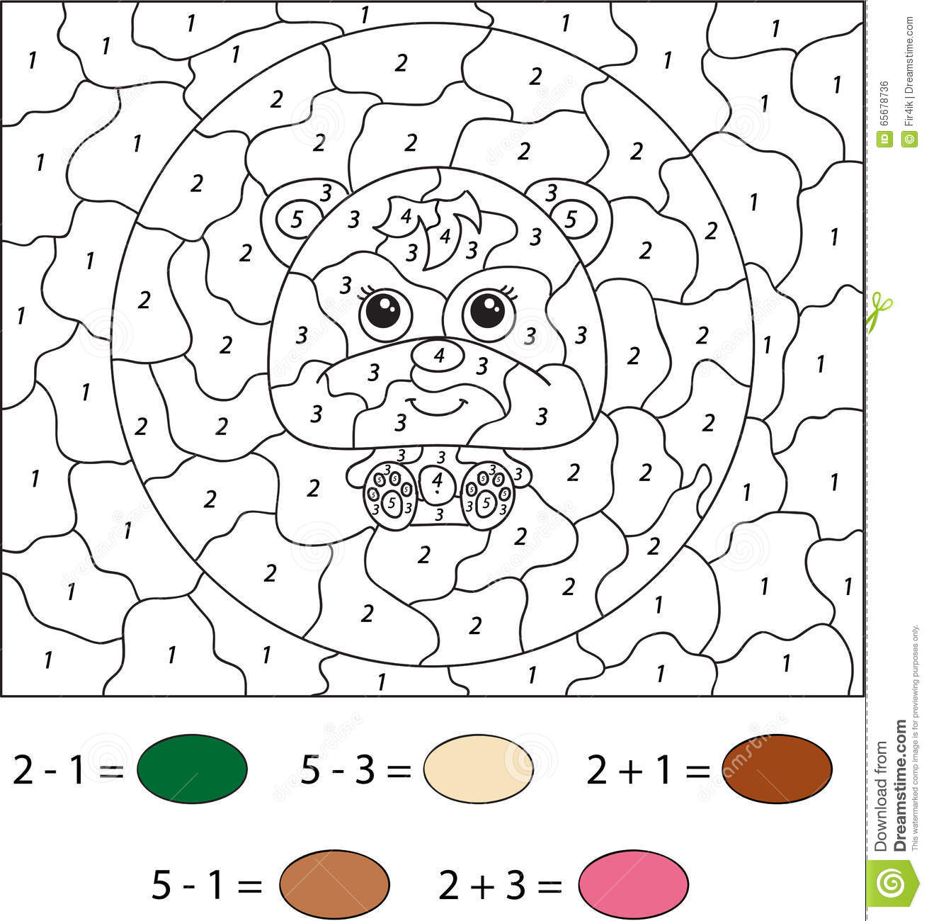 Cartoon Bear Color By Number Educational