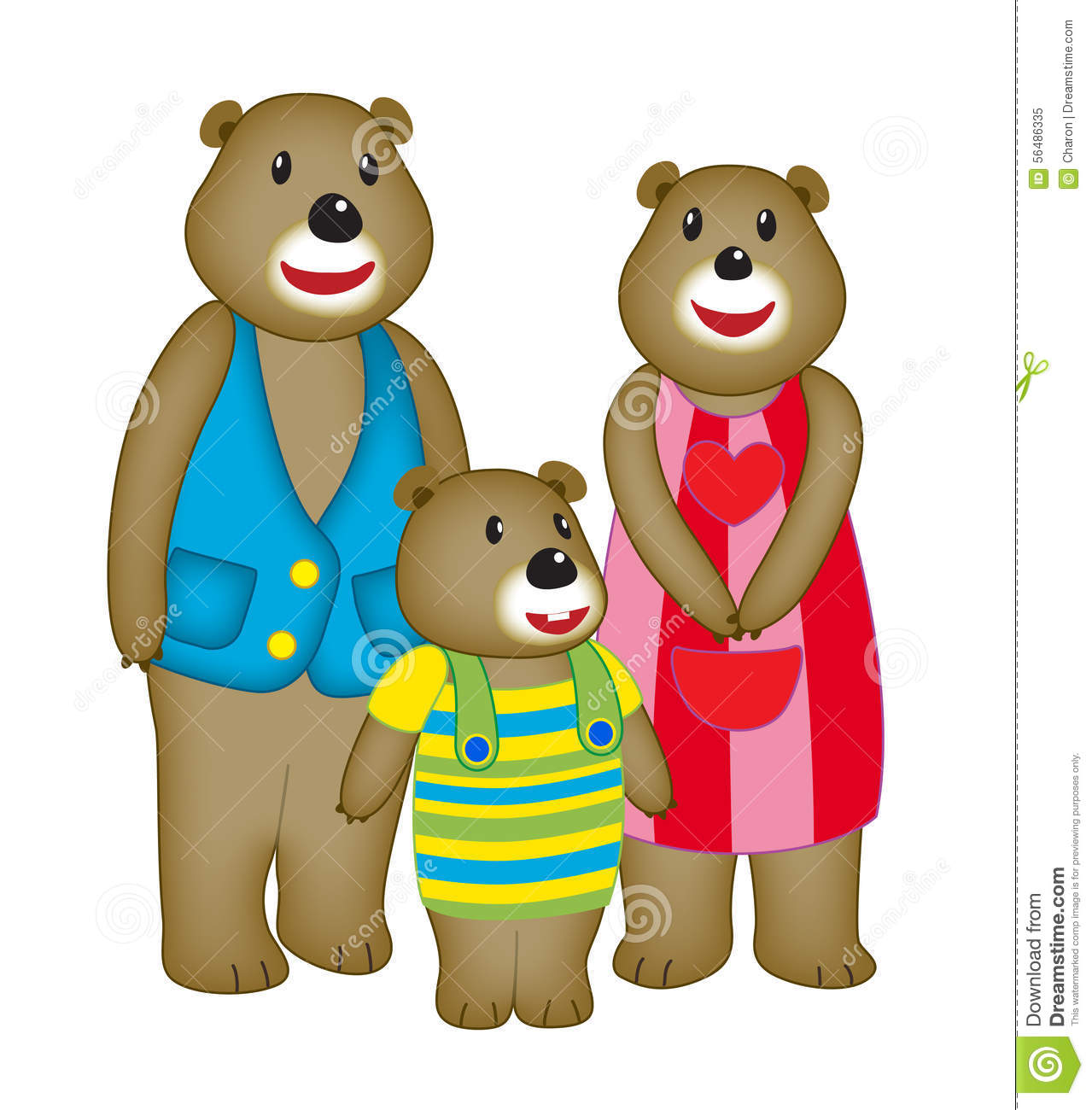 Illustration of happy bear family with three members. Father, mother ...