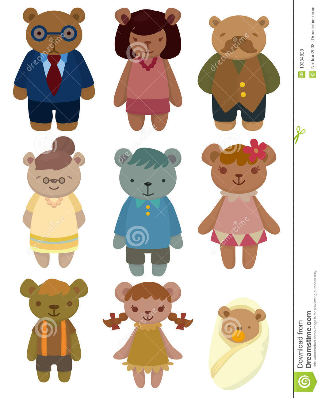 Cartoon Bear Family Set Icon Stock Vector - Illustration ...