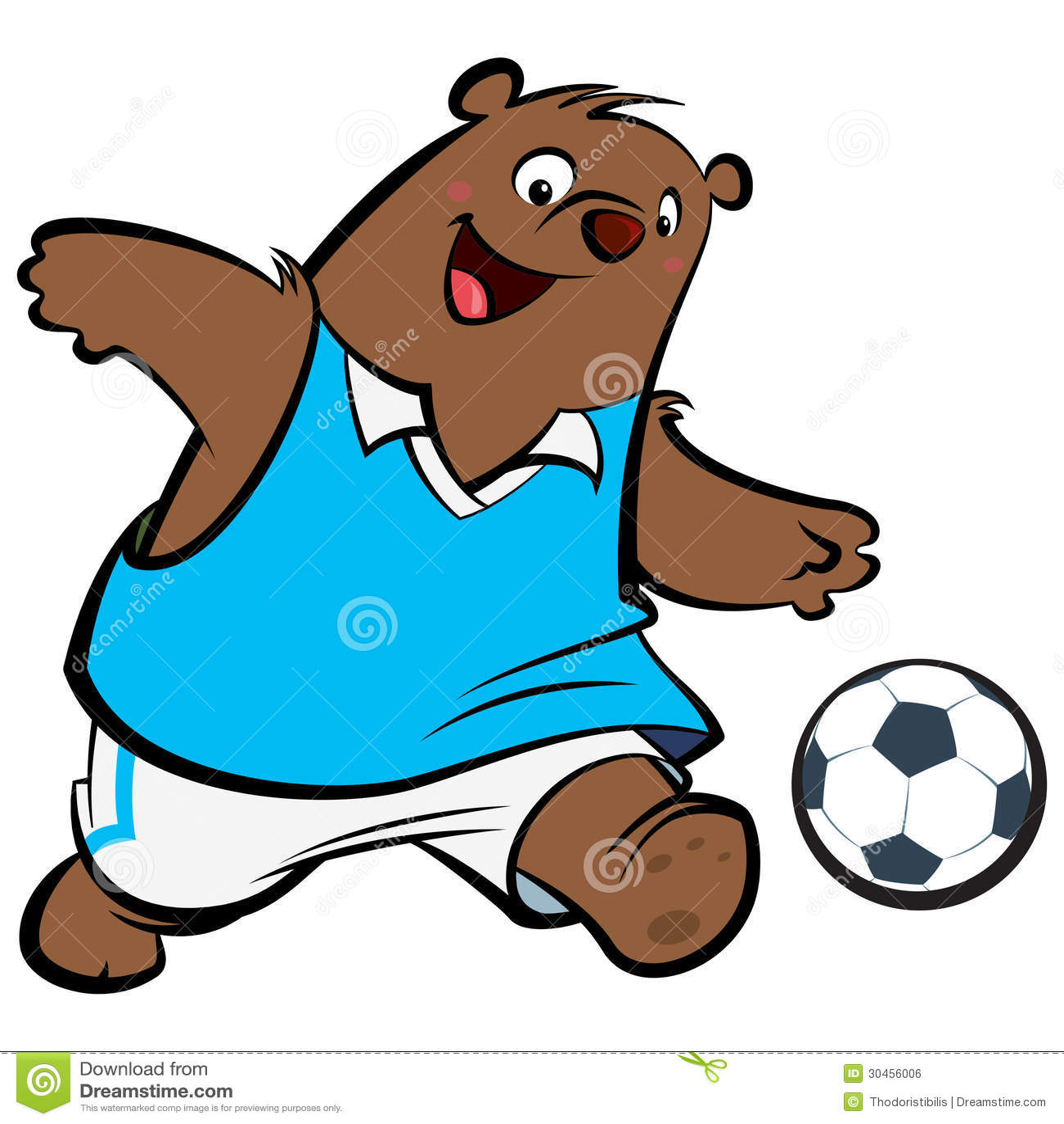 Cartoon Bear Football Player Stock Vector - Image: 30456006