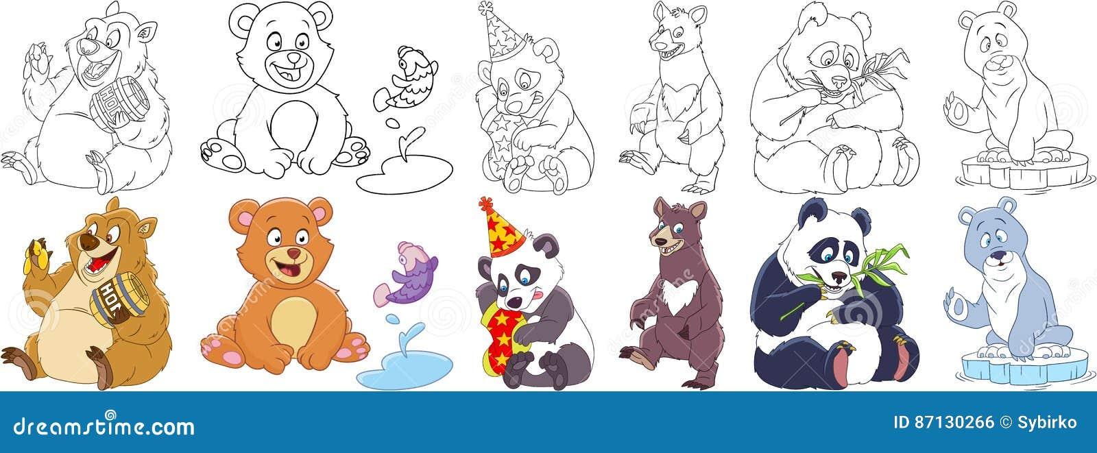 cartoon bear panda set animal childish collection bears pandas different emotions coloring book pages kids