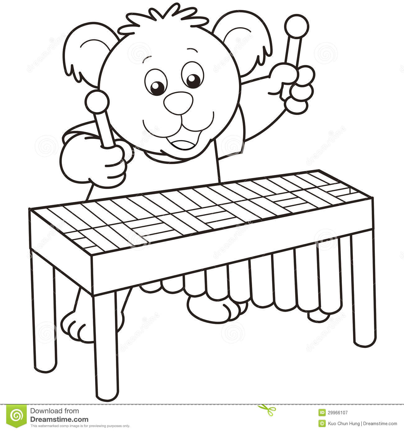 Line Art Xylophone : Cartoon bear playing a vibraphone royalty free stock