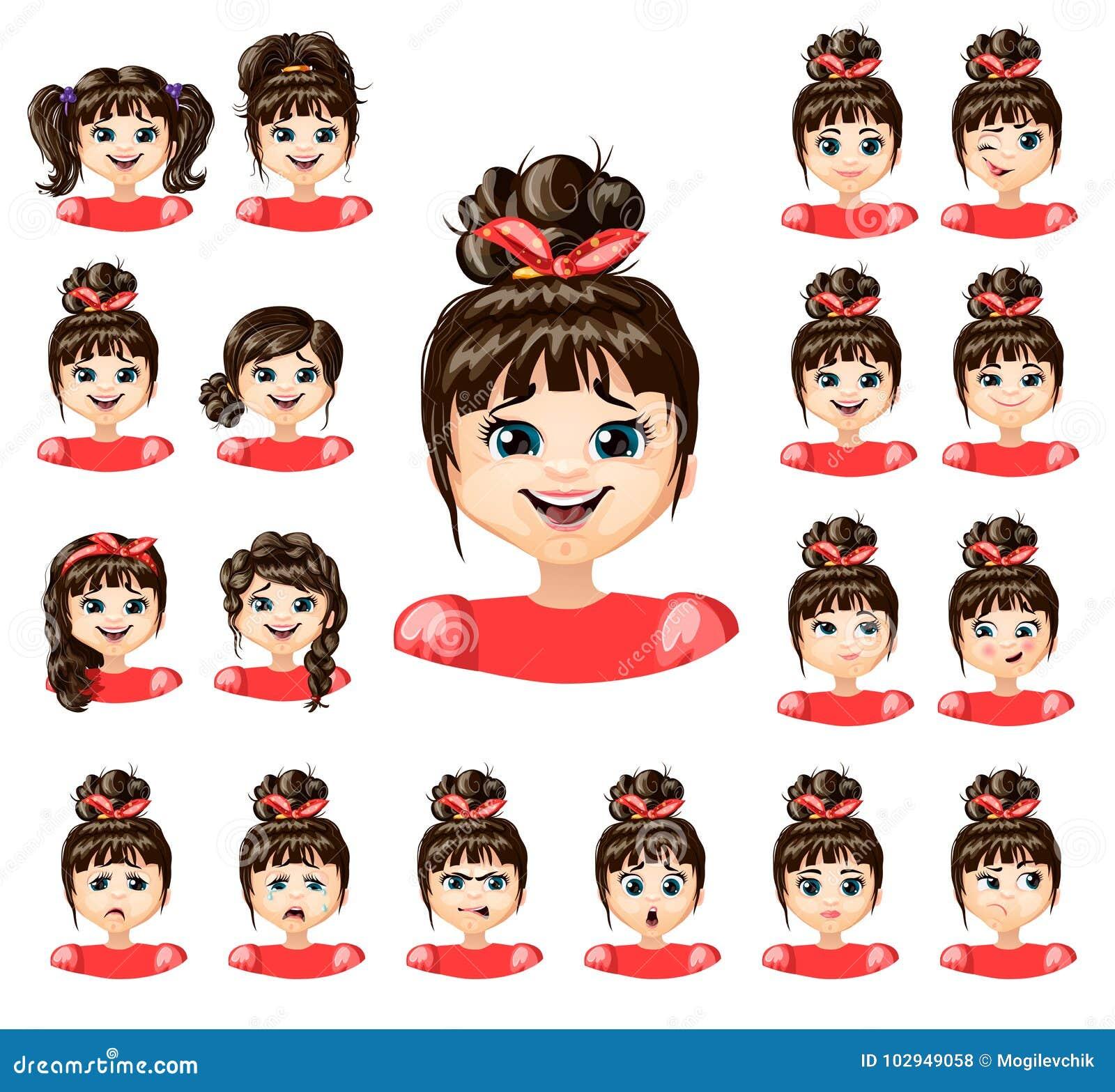 Cartoon Beautiful Girl Emotions Collection Stock Vector