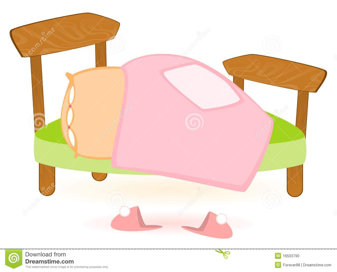 Cartoon bed with a blanket and pillow, pink slippers.