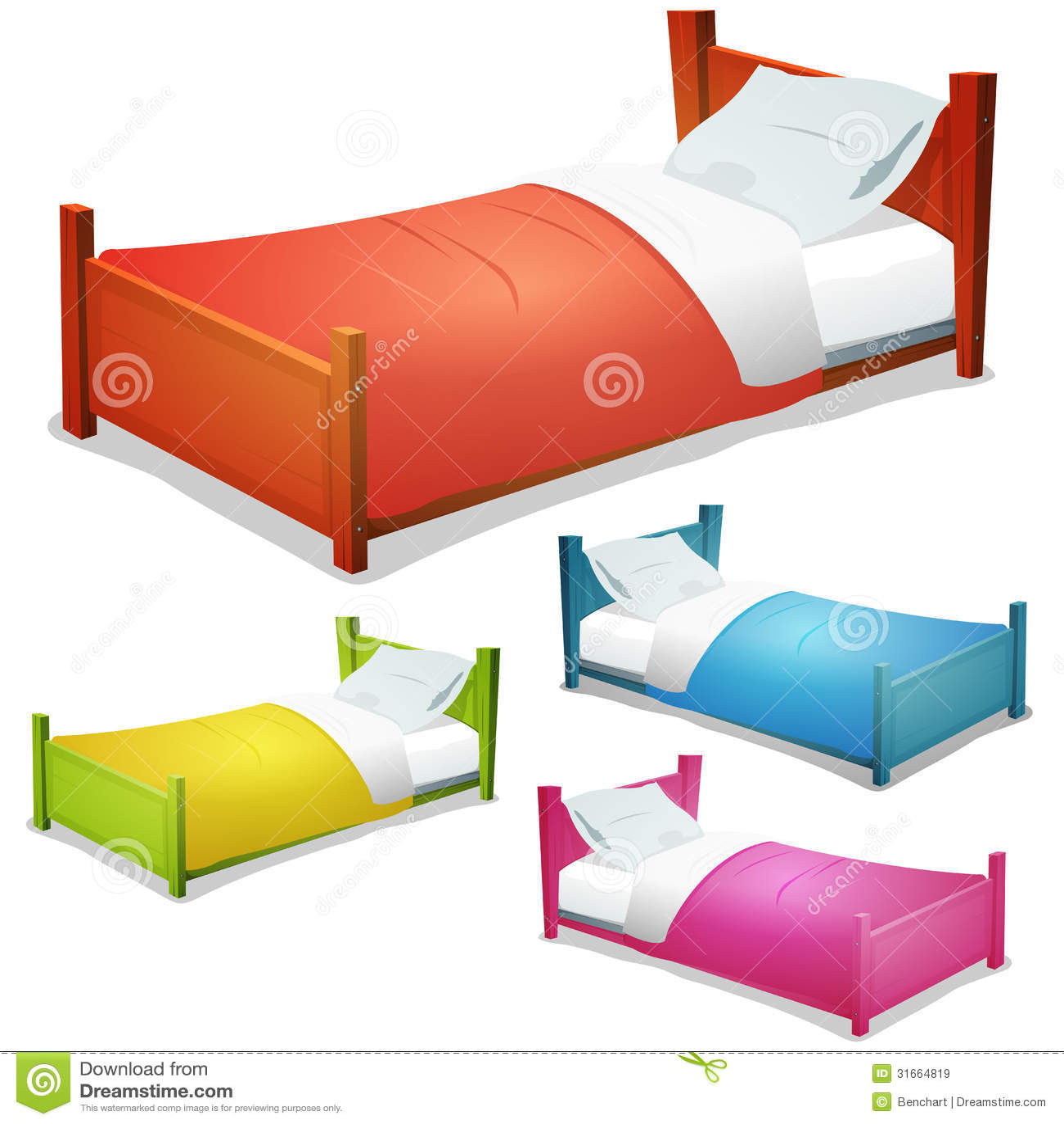 Cartoon bed set stock vector illustration of sheet for Bed models images