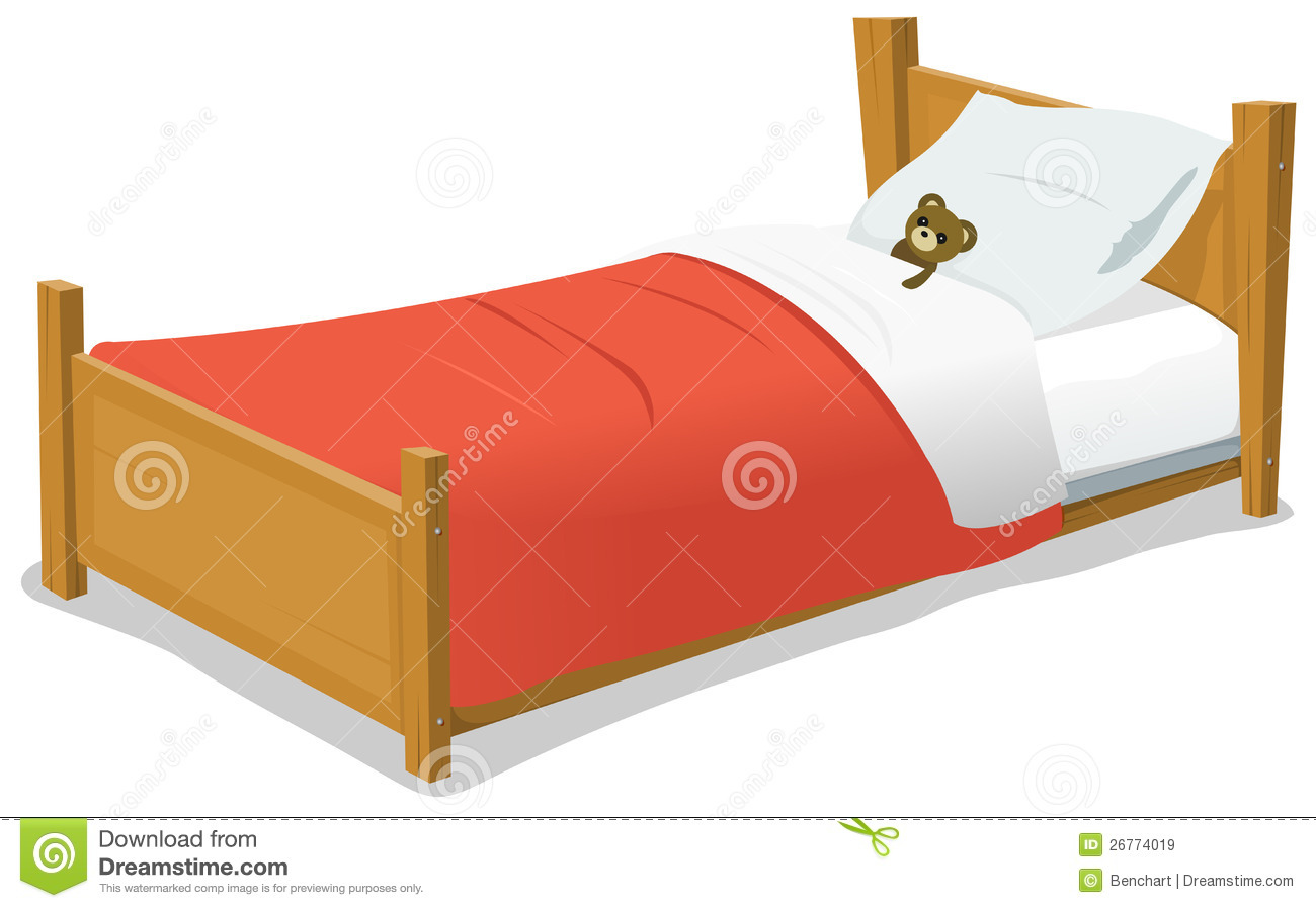 Cartoon Bed With Teddy Bear Stock Vector - Illustration of ...