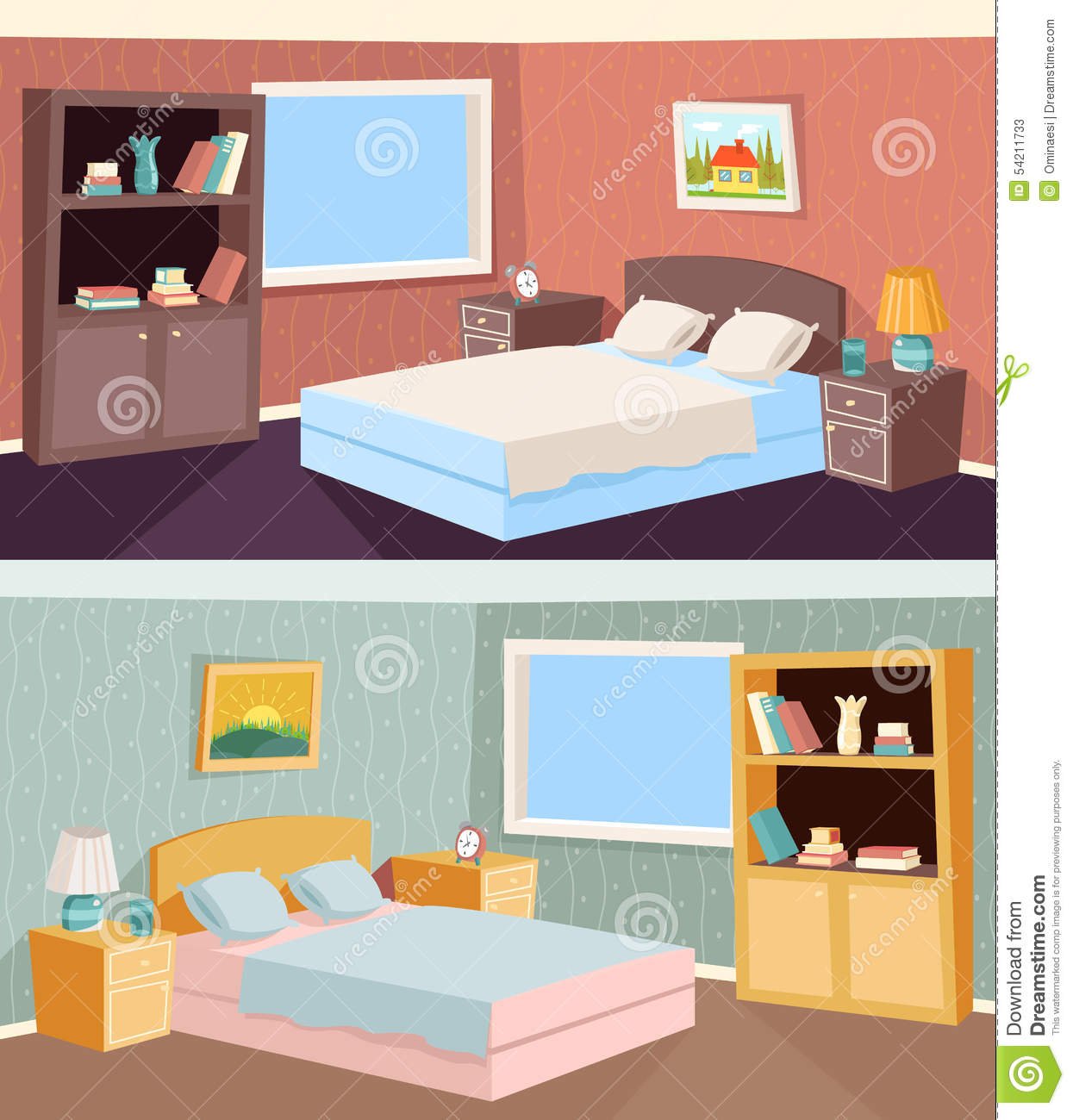 Illustration Cartoon Bedroom Apartment Livingroom Interior House Room