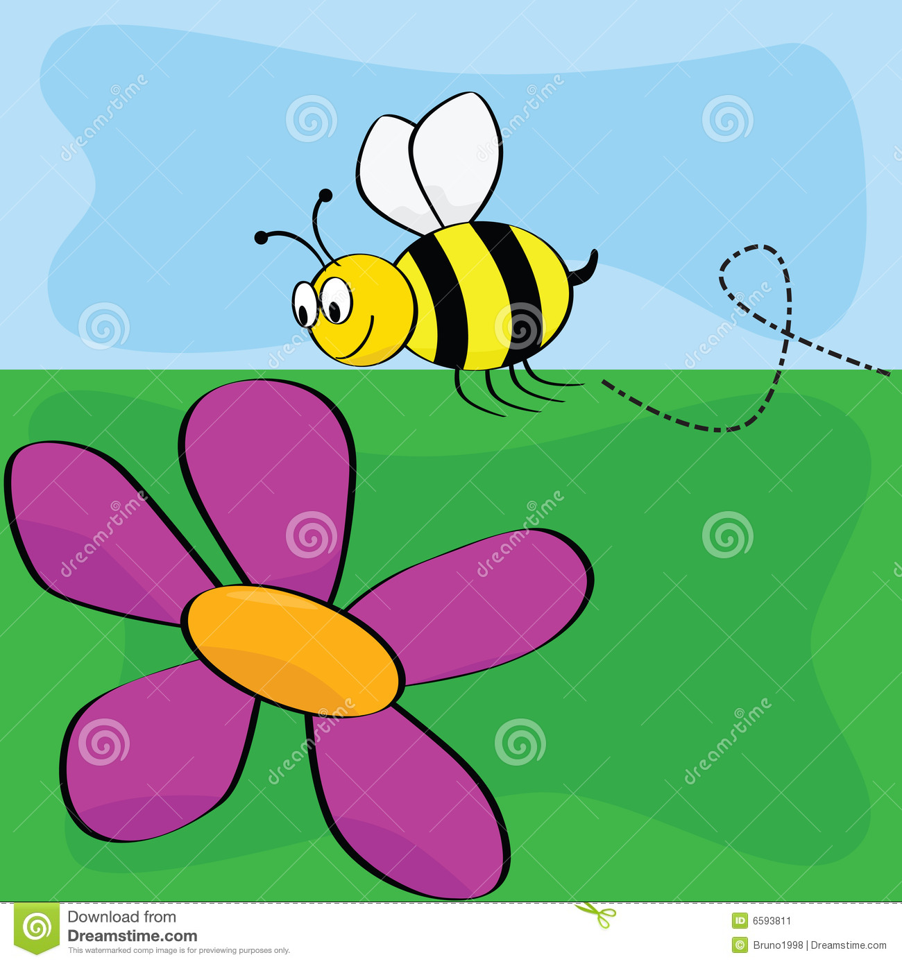 cartoon bee flying near flower stock image image 6593811