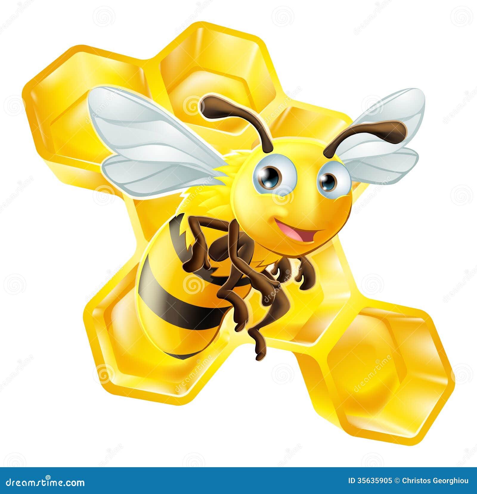 Cartoon Bee and Honey ...
