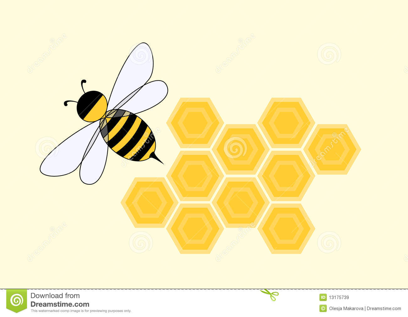 Cartoon Bee In Honeycomb Royalty Free Stock Images - Image: 13175739