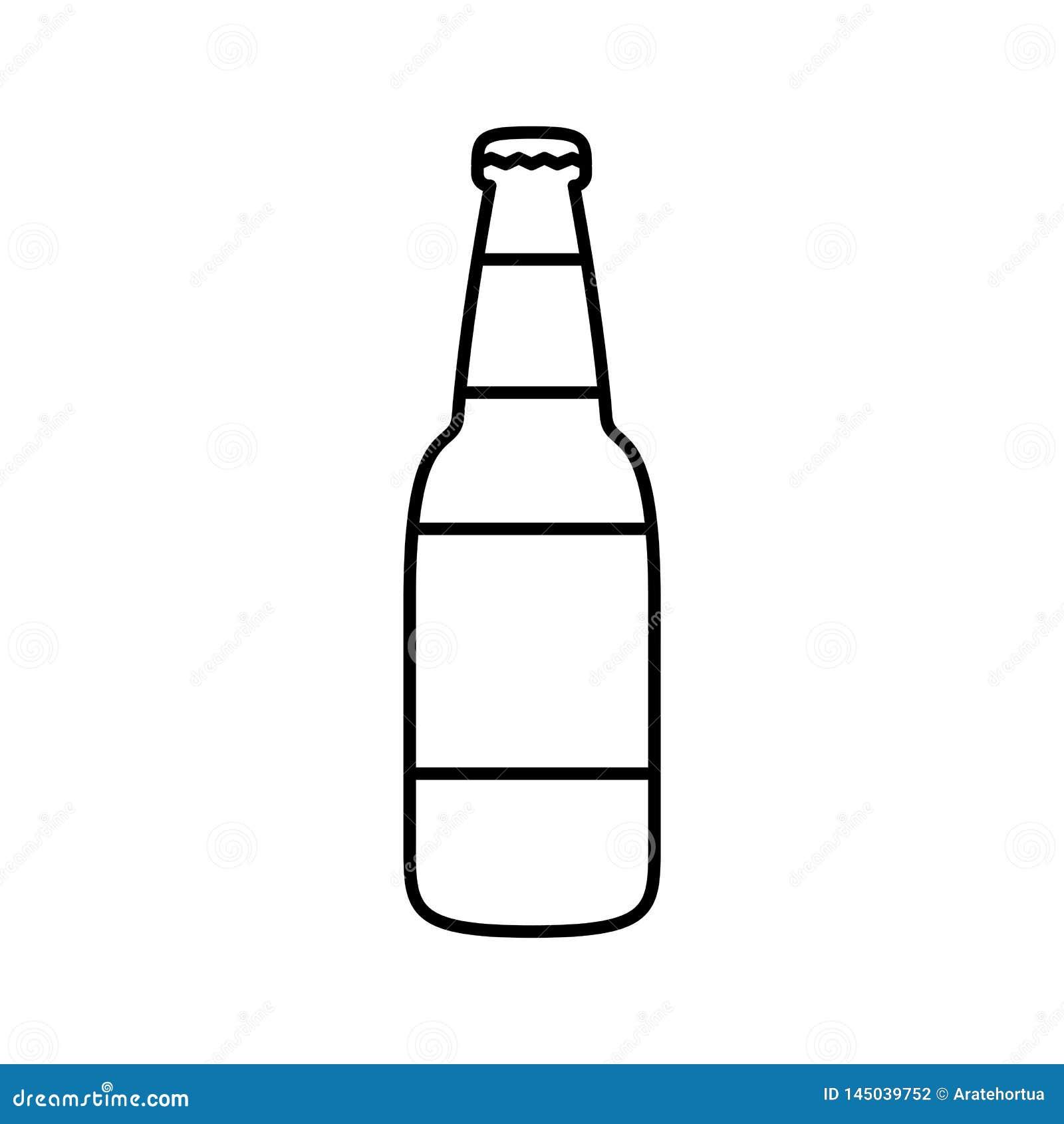 Cartoon Beer Bottle Icon Isolated On White Background