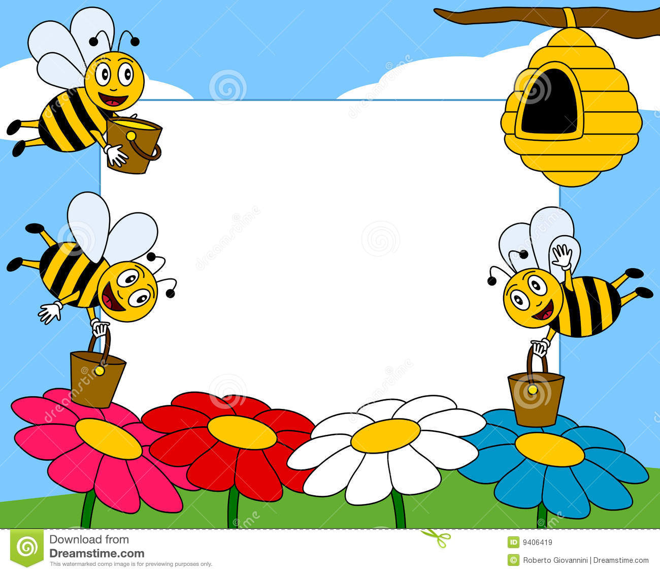 Cartoon Bees Photo Frame [1] Stock Vector - Illustration of artwork ...