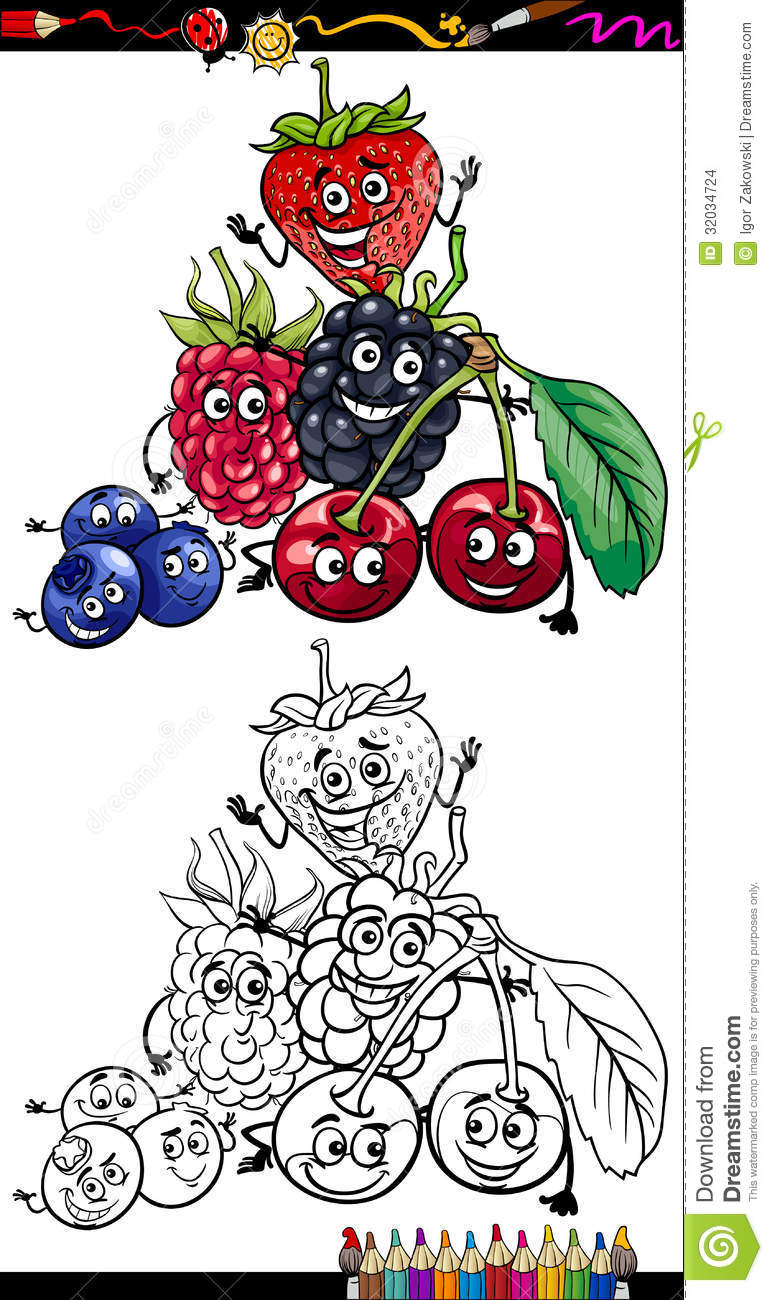 cartoon berry fruits for coloring book stock images image 32034724