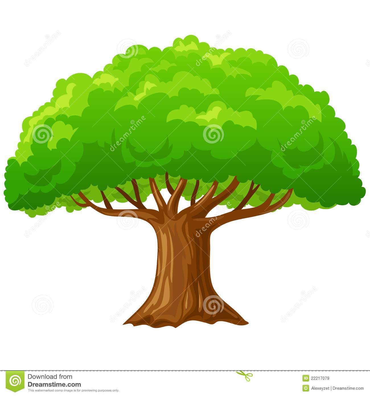 cartoon big green tree isolated on white stock vector