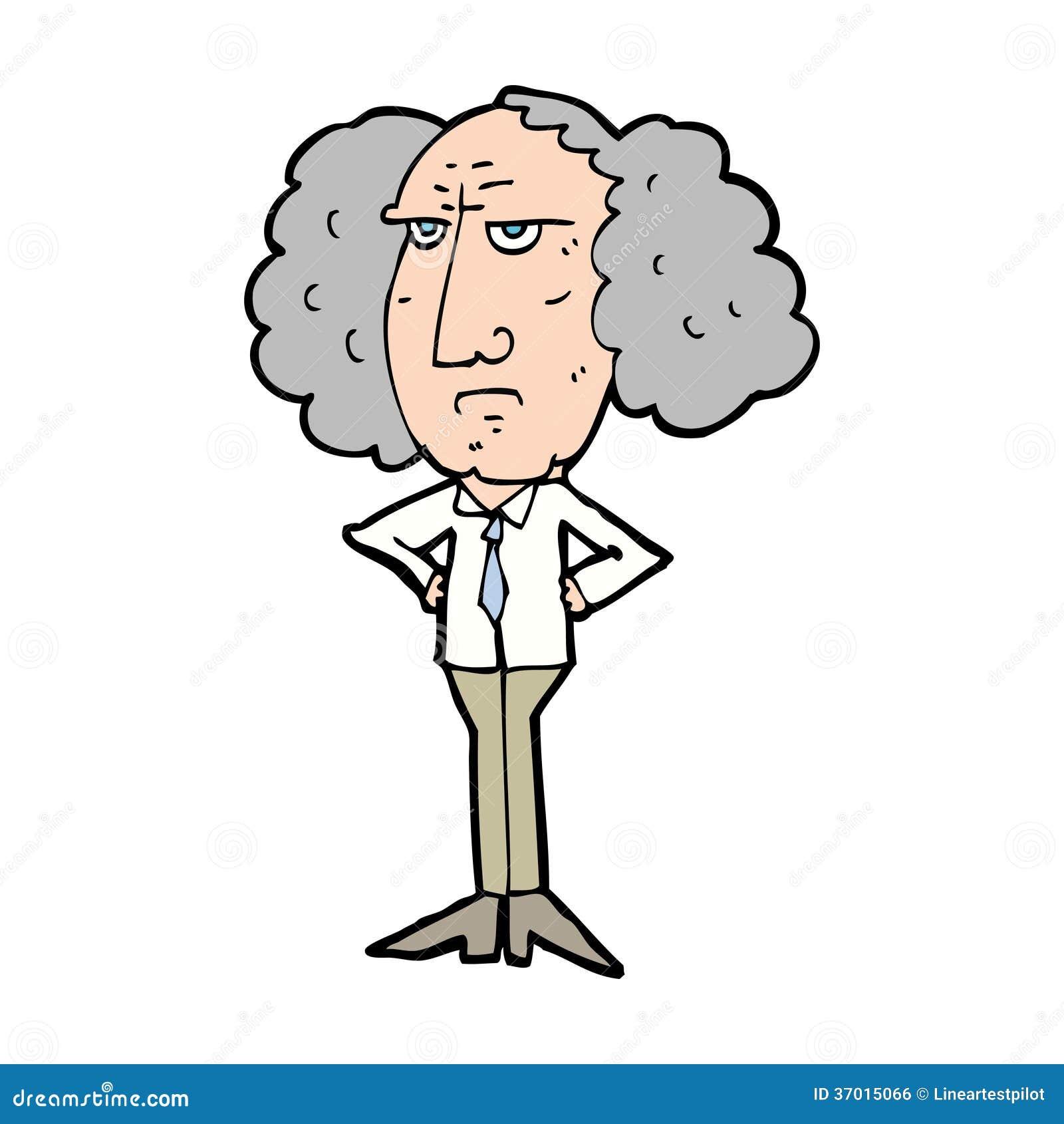 Cartoon Big Hair Lecturer Man Royalty Free Stock Image - Image ...