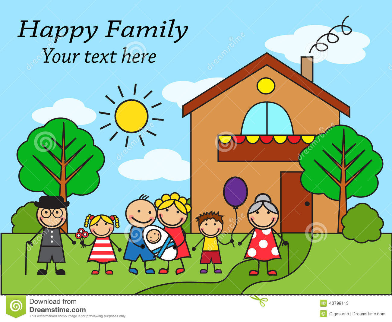 Cartoon Big Happy Family Near The House Stock Vector ...