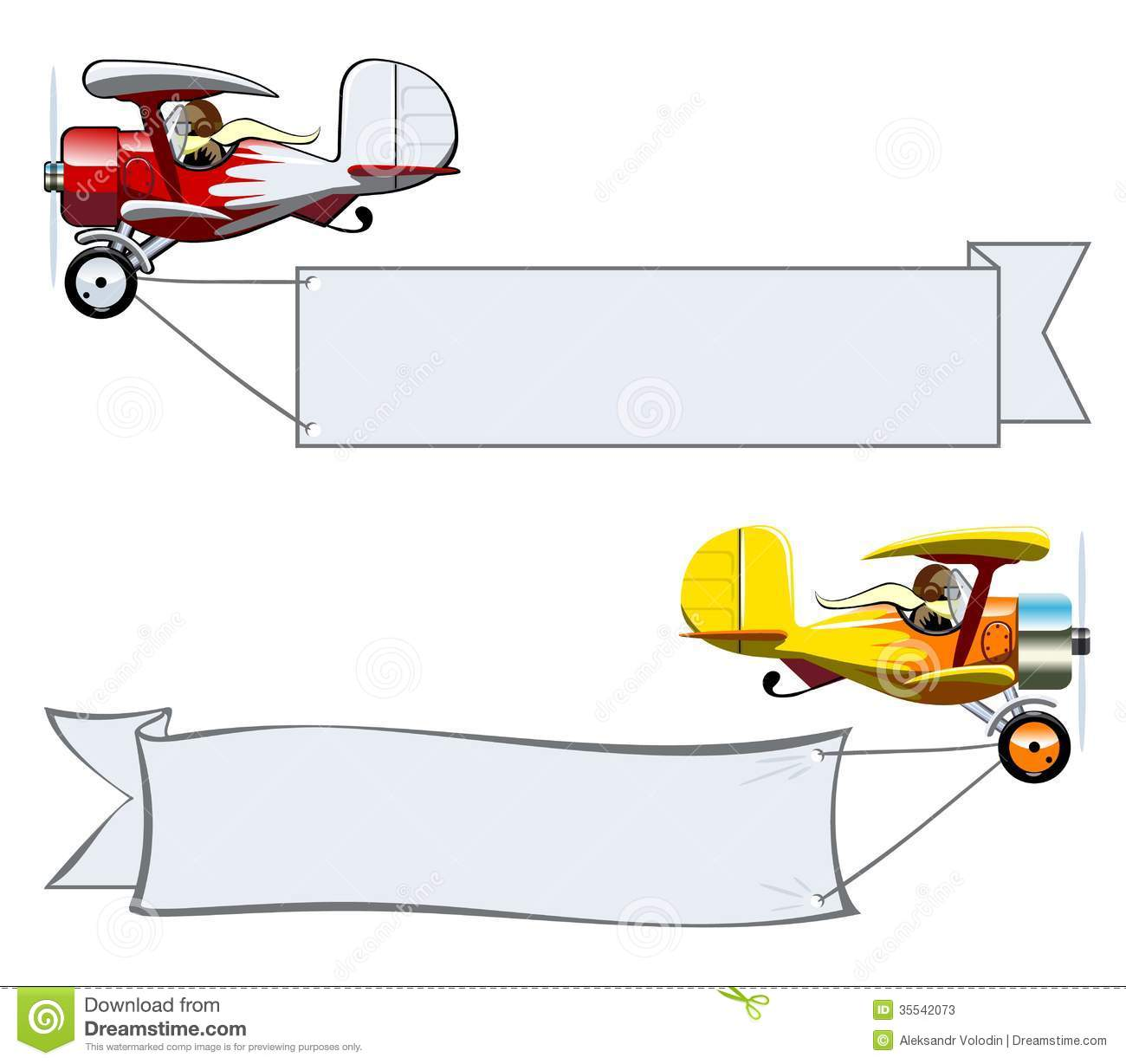 Vector Cartoon Biplane With Banner Stock Photo - Image: 10745900